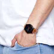 Herren Smartwatch Android rund iOS Smartwatch Herren Smart Watch Leder Armband Smartwatch